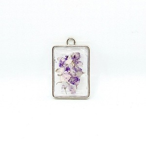 Like Confetti - Purple Square - Pressed Flower Necklace