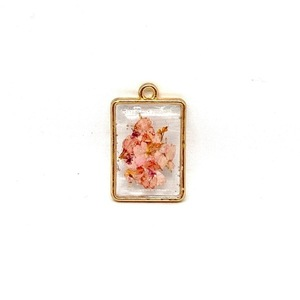 Like Confetti -Orange/Pink Square - Pressed Flower Necklace