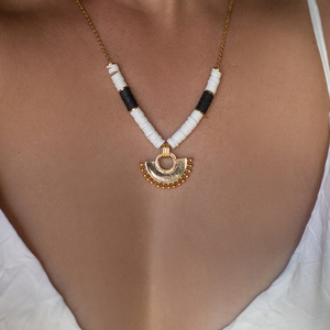Heishi Gold Moon Necklace