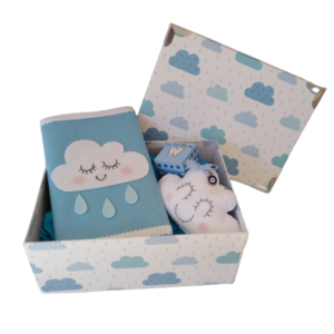 Giftbox blue clouds