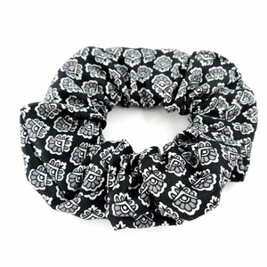 Black Flowers Scrunchie
