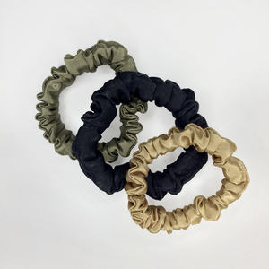 3 skinny satin scrunchies in *Autumn Neutrals*